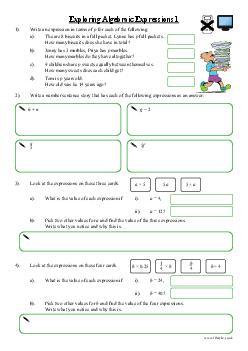 Exploring Algebraic Expressions 1